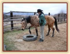 Stlačovací hra, cílem je v tomto případě dát nohu do pneumatiky...