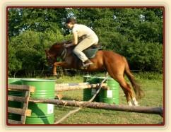 Janek skáče skoky na jízdárně