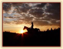 Trénink na jízdárně při západu slunce