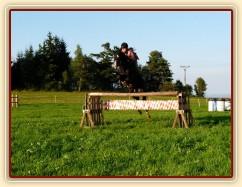 Srpen 2010, skákání na jízdárně v Čeleticích, oxer 120cm vysoký