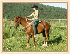Janek a jedno z jeho prvních vykročení s jezdcem na zádech.