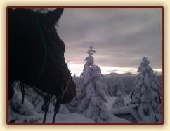 Novoroční vyjížďka, pohled z Oblíku na Ráchel (DE)
