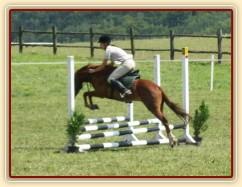 Janek skáče přes překážku při svém pvním parkuru