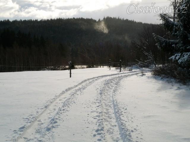 Příjezdovka konečně se sněhem:-)