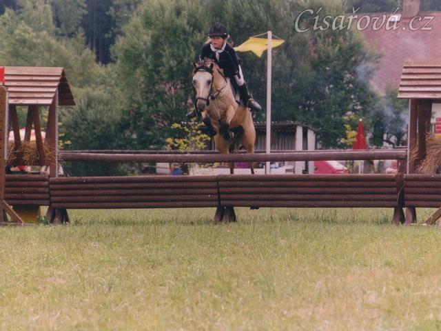 Mistrovství středočeské oblasti ve skocích pony, Heroutice 2003. Radka a Greisy vybojovaly v dvoukolovém LPA medaili za druhé místo.